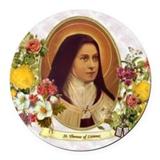 St. Therese Little Flower Round Car Magnet