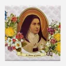 St. Therese Little Flower Tile Coaster