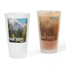 Autumn Mountain & River Scene Drinking Glass