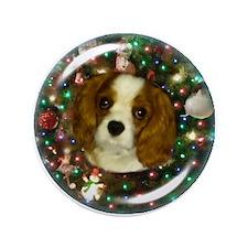 "Sunny Blenheim Cavalier puppy Christma 3.5"" Button"