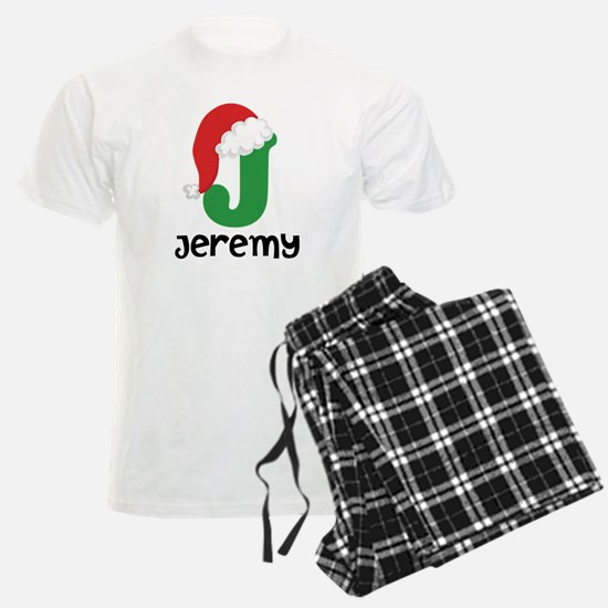 Christmas Santa Hat J Monogram Pajamas