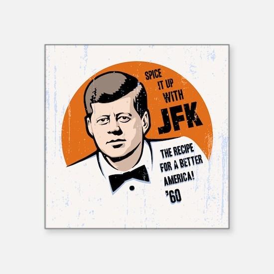 "JFK Recipe Square Sticker 3"" x 3"""