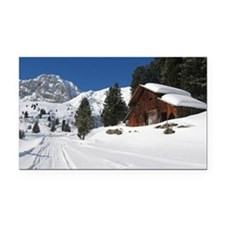 Old Barn Winterscape Rectangle Car Magnet