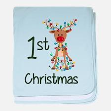 First Christmas Reindeer baby blanket