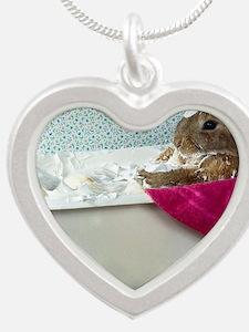 Bathtime Bunny! Silver Heart Necklace