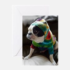 French Bulldog in Hoodie Greeting Cards