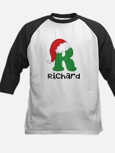 Christmas Santa Hat R Monogram Baseball Jersey