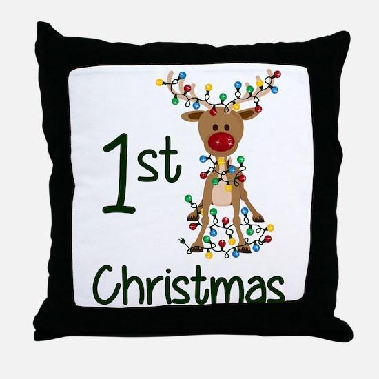 First Christmas Reindeer Throw Pillow