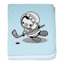 Ice Hockey Penguin (b&w) baby blanket