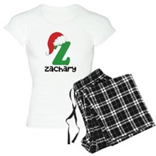 Christmas Santa Hat Z Monogram Pajamas