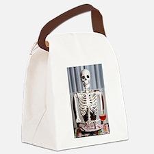 Skinny Skelton at Dinner Canvas Lunch Bag