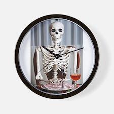 Skinny Skelton at Dinner Wall Clock
