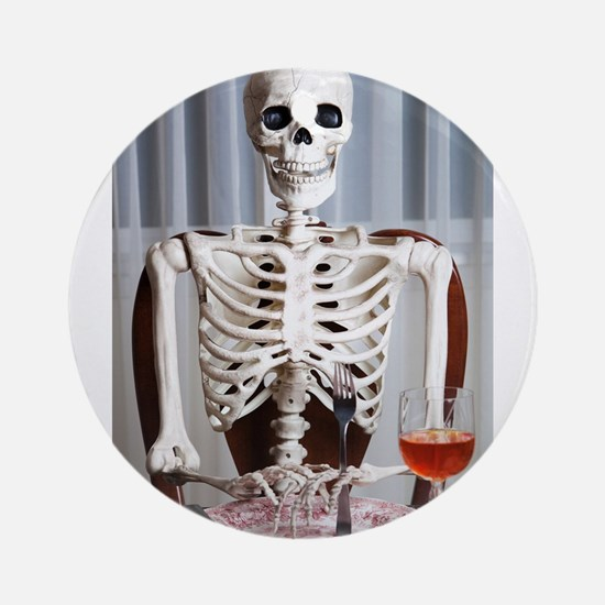 Skinny Skelton at Dinner Ornament (Round)