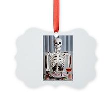 Skinny Skelton at Dinner Ornament