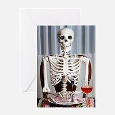 Skinny Skelton at Dinner Greeting Cards