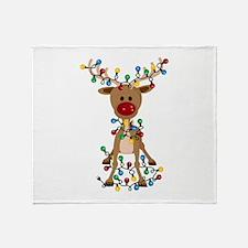 Adorable Christmas Reindeer Throw Blanket