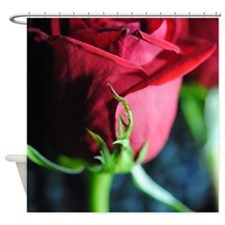 Red Rose Green Stem Shower Curtain