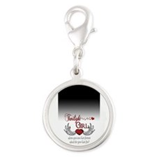 Twilight Girl Silver Round Charm