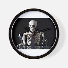 Skinny Skeleton Tends Bar Wall Clock