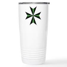 Green Maltese Cross Travel Mug