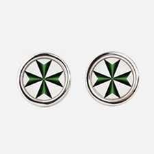 Green Maltese Cross Round Cufflinks