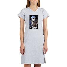 Skinny Skeleton Rocks On Women's Nightshirt