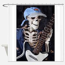 Skinny Skeleton Rocks On Shower Curtain