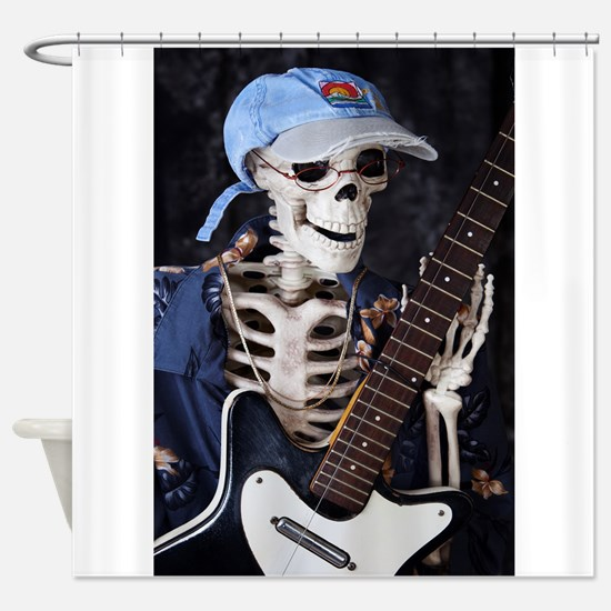 Skinny Skeleton Rocks On Shower Curtain