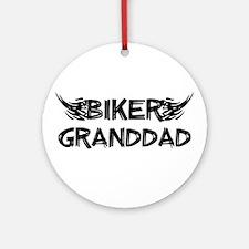 Biker Granddad Ornament (Round)