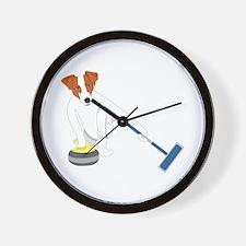 Jack Russell Terrier Curling Wall Clock