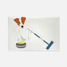 Jack Russell Terrier Curling Rectangle Magnet