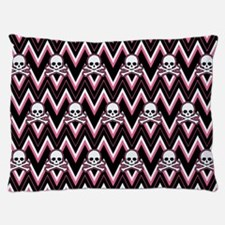 Gothic Pink Skull Chevron Pattern Dog Bed
