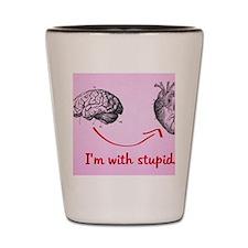 I'm with stupid Anti-Valentine Shot Glass