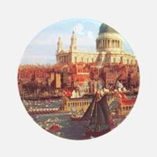 London boats on River by Canaletto Ornament (Round