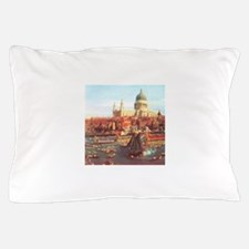 London boats on River by Canaletto Pillow Case