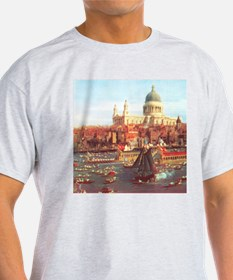 London boats on River by Canaletto T-Shirt