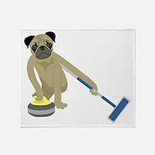 Pug Curling Throw Blanket