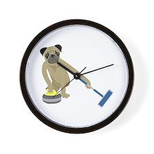 Pug Curling Wall Clock