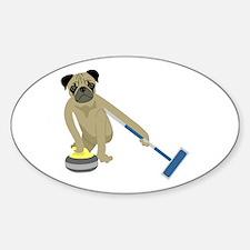 Pug Curling Sticker (Oval)