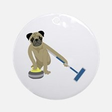 Pug Curling Ornament (Round)