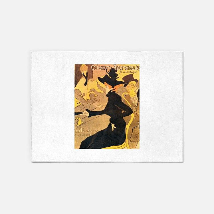 Divan Japonais by Toulouse-Lautrec 5'x7'Area Rug