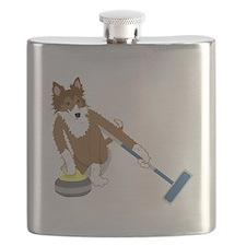 Shetland Sheepdog Curling Flask