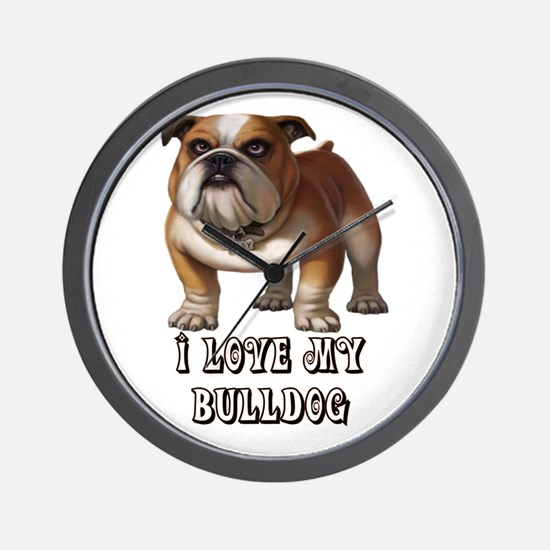 I Love My Bulldog Wall Clock