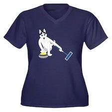 Husky Curling Women's V-Neck Plus Size T-Shirt