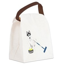 Siberian Husky Curling Canvas Lunch Bag
