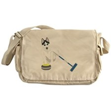 Siberian Husky Curling Messenger Bag