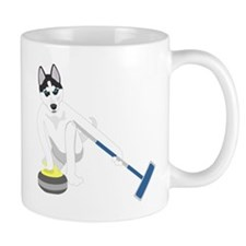 Siberian Husky Curling Small Mug