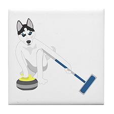 Siberian Husky Curling Tile Coaster