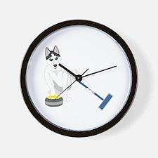 Siberian Husky Curling Wall Clock