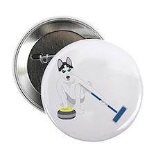 """Siberian Husky Curling 2.25"""" Button"""